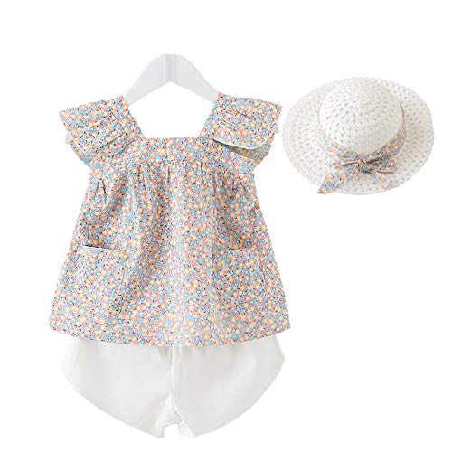 Little Kid Girl Clothes Floral Vest T-Shirt Tops +Shorts Pant with Cute Sun Hat 3Pcs Summer Casual Outfits Set (White, 3-4 T) ()