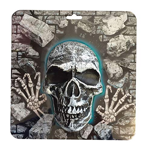 MA ONLINE Trick And Treat Plastic Mould Halloween 3D Skull Plaque Wall Hanging Party Supplies One Size