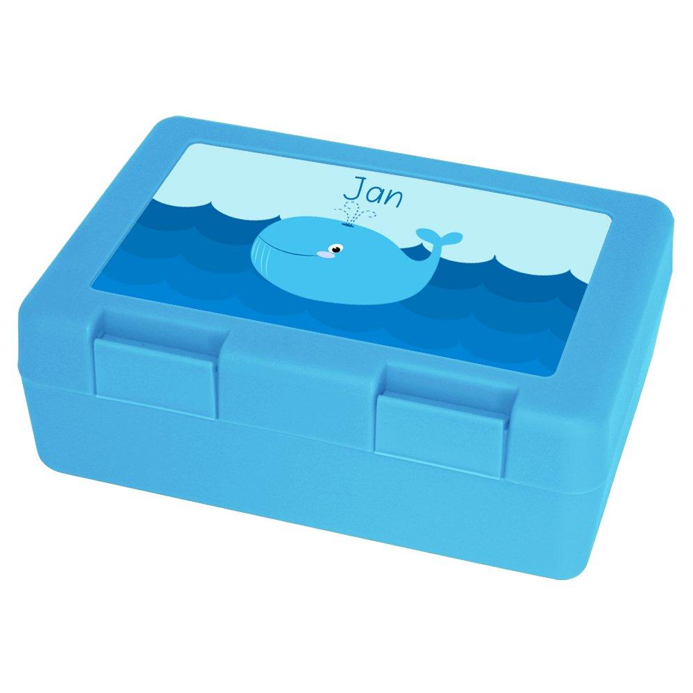 Brotdose mit Namen Jan und Motiv mit Wal f/ür Jungen Vesperbox Brotbox hellblau Vesperdose Brotzeitdose mit Vornamen
