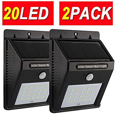 Sogrand 2pcs-Pack 20LED,Solar Lights Outdoor,Motion Sensor Light,Solar Security Light,Solar Motion Light,for Wall,Patio,Deck,Shed,Fence,Pathway and Driveway