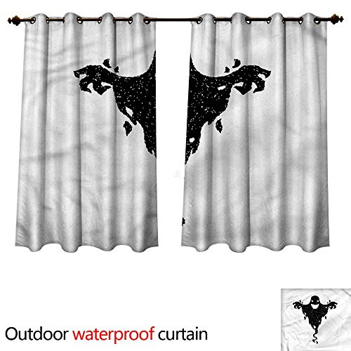 cobeDecor Scary Outdoor Curtain for Patio Halloween Black Ghost Spooky W55 x L72(140cm x 183cm) -
