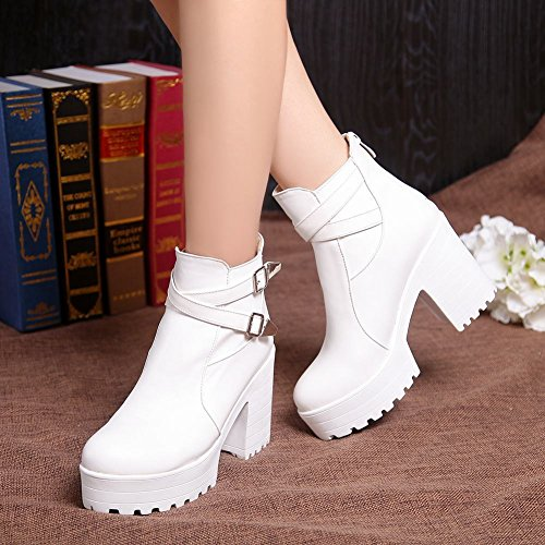 Latasa Womens Fashion Block High-heel Platform Ankle-high Buckle Strap Jodhpur Boots White os6lbw