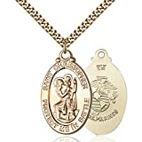 Gold Filled St. Christopher Pendant 1 1/4 X 1 1/4 inches with Heavy Curb Chain