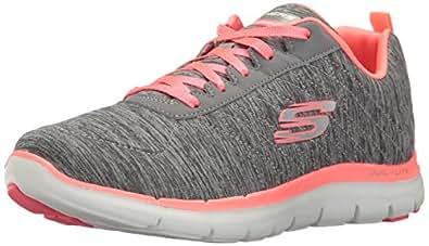 Skechers Flex Appeal 2.0, Zapatillas de Deporte para Mujer, Gris (Grey/Coral), 35 EU