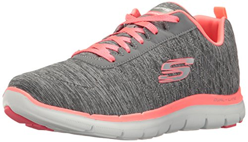 Skechers Sport Women's Flex Appeal 2.0 Fashion Sneaker, Gray/Coral, 11 M US ()
