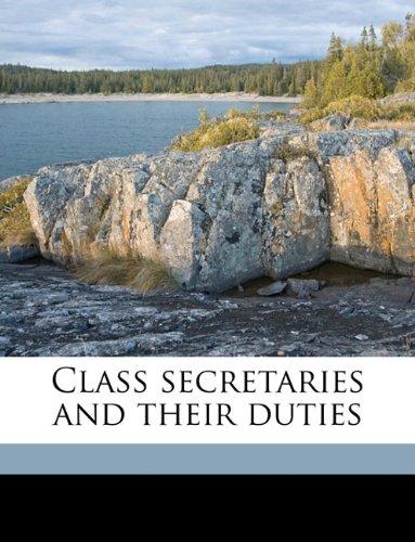 Read Online Class secretaries and their duties pdf
