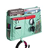 8 Pockets Bedside Hanging Bag Storage Organizer Bed Rails Bunk Beds Side Stroller Caddy Pouch Loft Bed Accessories Holder with Straps for Phones Tablets Dorm College Student Hospital Beds Apartments