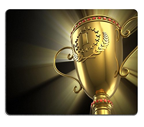 Liili Mouse Pad Natural Rubber Mousepad IMAGE ID: 14413124 Award winning and championship concept golden glowing trophy cup on black background
