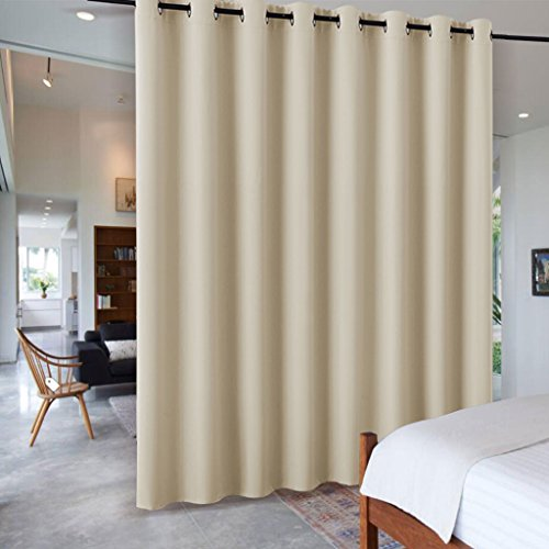 Office Divider Panels - Freestanding Office Partition Wall Dividers - RYB HOME Decorative Contemporary Blackout Curtain Panels Metal Grommet Top for loft / Bedroom / Storage, 8 ft Tall x 15 ft Wide, Cream Beige, 1 Piece