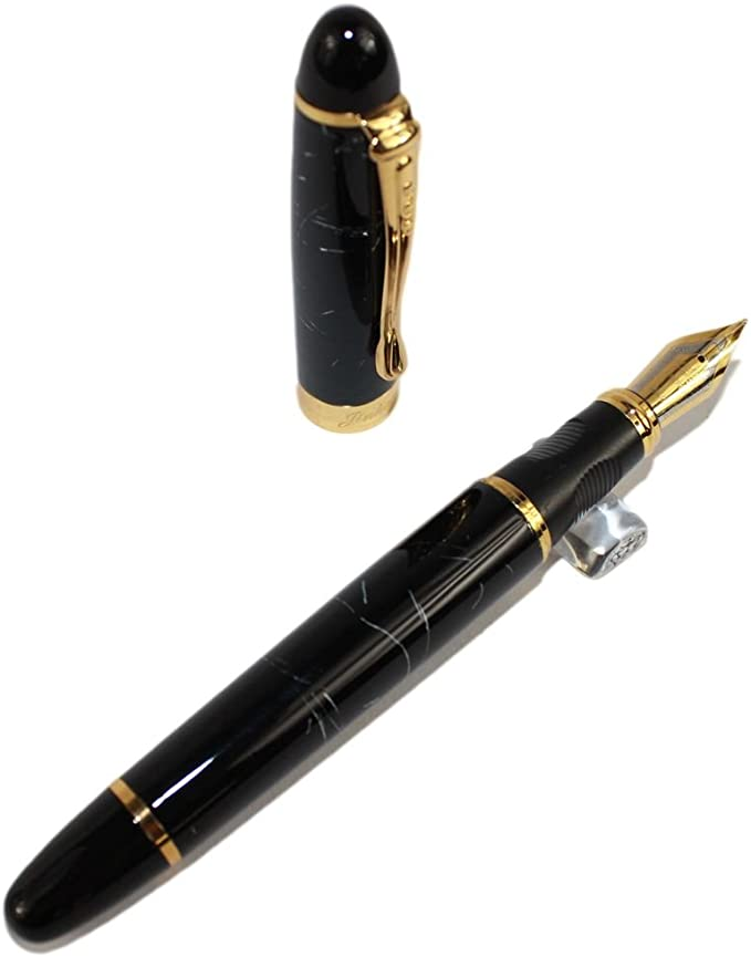 Jinhao X450 Matte Black Metal Fountain Pen Golden Clip F//0.5mm Nib Writing #w15