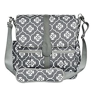 JJ Cole Backpack Diaper Bag, Gray Floret