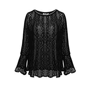 Aphratti Women's Cute Long Bell Sleeve Casual Lace Tunic Top