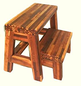 Amazon Com Folding Two Step Stool Mosaic Eco Redwood
