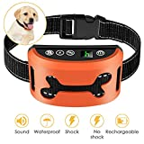 Bark Collar, 2019 Adjustable Vibration, Shock Sensitivity Level 1-7, Rechargeable Waterproof, Smart Barking Detection Small Large Dog, No Bark Collar