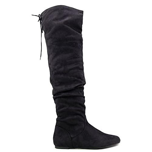 SODA Women Over The Knee Thigh High Flat Boots Back Lace Up Slip On Slouch  LONGBAY