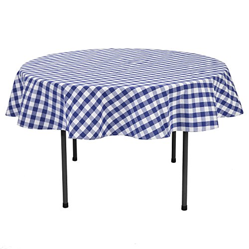 VEEYOO 70 Inch (178 Cm) Round 100% Cotton Plaid Tablecloth Gingham For Home  Kitchen Outdoor Use, Navy U0026 White Buffalo Check
