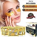 Mascarilla Hidratante Contorno Ojos de Colágeno con Partículas de Oro 24K para eliminar Arrugas, Ojeras, Bolsas e Hinchazón debajo de los Ojos - 25 Pares de Parches Ojos y 6 Parches Detox Pies