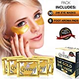 QveneUSA 24K Gold eye mask | 50 patches | Under Eye Bags Treatment Mask | Under Eye Patches | Anti-Wrinkle gold mask | dark circles under eye treatment | eye depuffer | included 6 Foot Pads