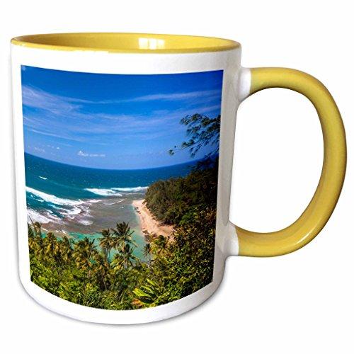 3dRose Danita Delimont - Beaches - Tunnels Beach as seen from the Kalalau Trail in Kauai - 15oz Two-Tone Yellow Mug (mug_205946_13)