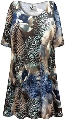 Animal Medley Slinky Print Plus Size Supersize Extra Long A-Line Top