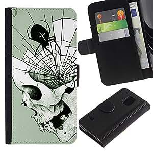 KLONGSHOP / Tirón de la caja Cartera de cuero con ranuras para tarjetas - Spider Skull Halloween Death Metal - Samsung Galaxy S5 V SM-G900