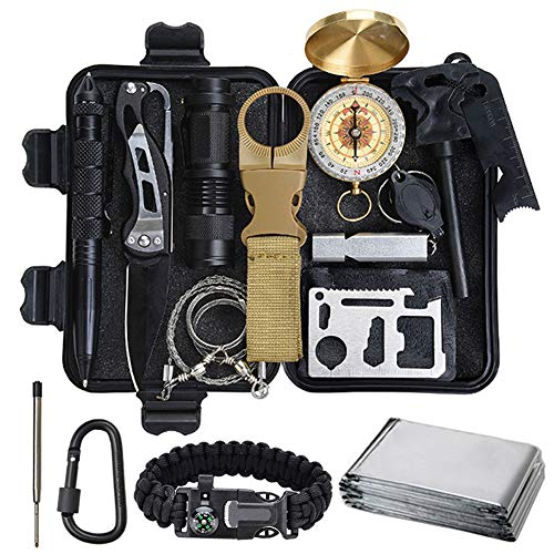 Lanqi 16 Pieces Survival kit, Professional Emergency Camping Gear for Car, Camping, Hiking, Climbing -Father's Day Birthday Gift for Him Men Dad Boyfriend