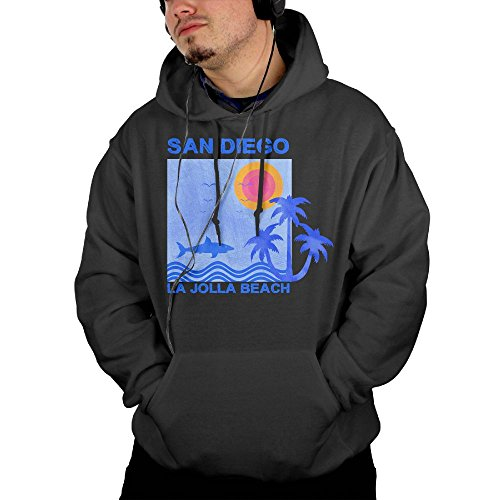 AOCOD Surf and Surfing In LA Jolla Beach San Diego Men's French Terry Casual Comfy Hoodie - Jolla La Shops In