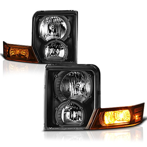 VIPMOTOZ Black Housing OE-Style Headlight Headlamp Assembly For 2006-2010 Jeep Commander Halogen Model, Driver & Passenger Side