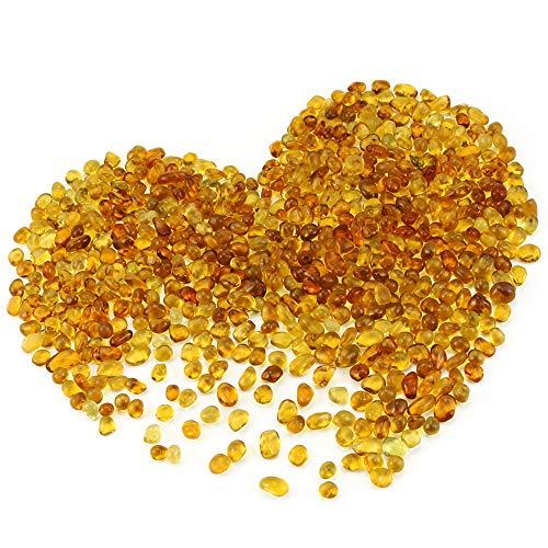 Neworkg 500g Amber Glass Stones, Smooth Vibrant Colors Gem Glass for Vase Filler, Aquarium Fillers, Table Scatter and Display