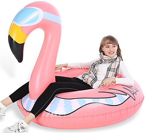 Jasonwell Winter Snow Tube Ride On- Big Heavy Duty inflatable Flamingo Strawberry Reindeer snow sled & Toboggan with Rapid Valves Carry Bag - Christmas Birthday Gift for Kids & Adults