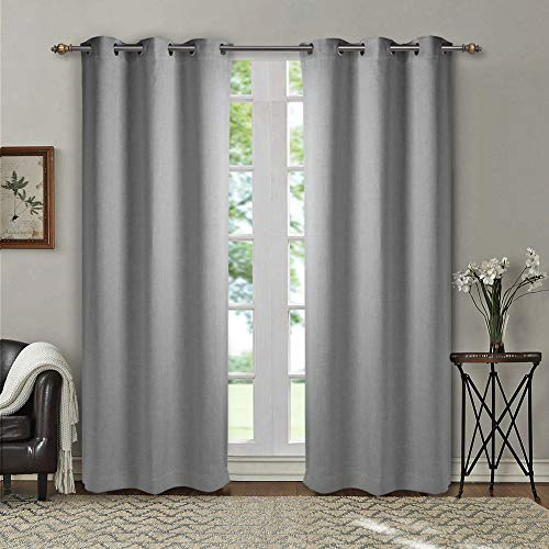 SINGINGLORY Blackout Curtains 2 Panels Set, Linen Textured Thermal Insulated Grommet Window Curtains for Bedroom and Living Room (42x84 inch, Gray)