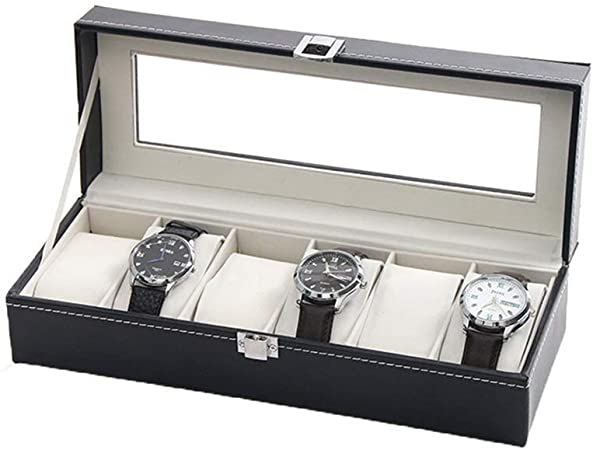 WSJTT Estuche para Reloj Estuche de Reloj para Hombres - 6 Ranuras Estuche de exhibición Organizador Hebilla de Metal para Hombres Joyas Relojes Soporte de Almacenamiento para Hombre con Tapa: Amazon.es: Hogar