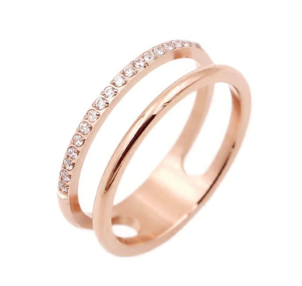 ALEXTINA Women's Stainless Steel Double Layer 6MMM 21 Cubic Zirconia Pave Rings Stacking Band Rose Gold Size 9