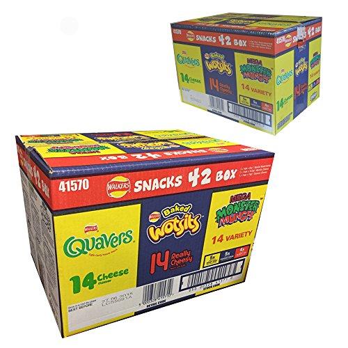 WALKERS SNACK 42 Pack Variety Crisp BOX - WOTSITS QUAVERS MONSTER MUNCH