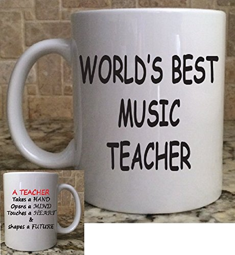 Ceramic Coffee Mug Cup 11oz White World's Best Music Teacher Teaching is a work of heart Perfect Gift