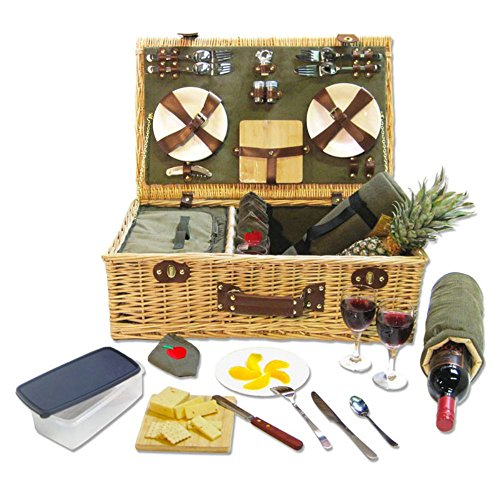 Picnic Pack Willow Picnic Basket for 4 by Picnic Pack