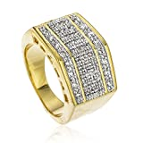 Men's Goldtone Iced Out Block Style Finger Ring Sizes 9-11 (10) (D-521-10)