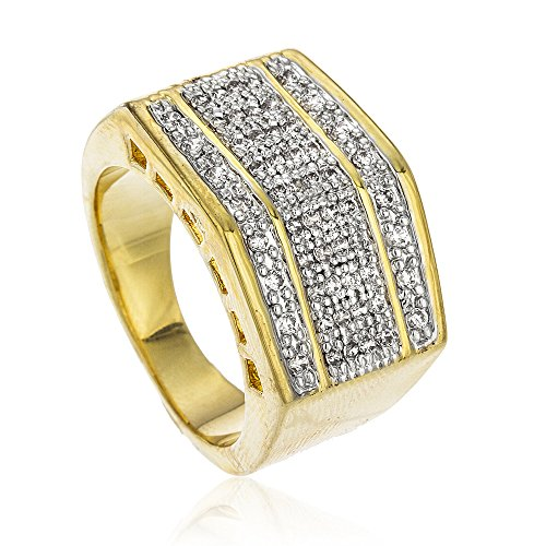 Men's Goldtone Iced Out Block Style Finger Ring Sizes 9-11 (10)