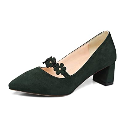 Aisun Women's Floral Pointed Toe Faux Suede Dress Low Cut Chunky Mid Heels Slip On Pumps Shoes