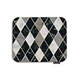 Moslion Plaid Mouse Pad Geometric Diagonal Lines Gingham White Gray Black Rhombus Marble Gaming Mouse Pad Rubber Large Mousepad for Computer Desk Laptop Office Work 7.9x9.5 Inch