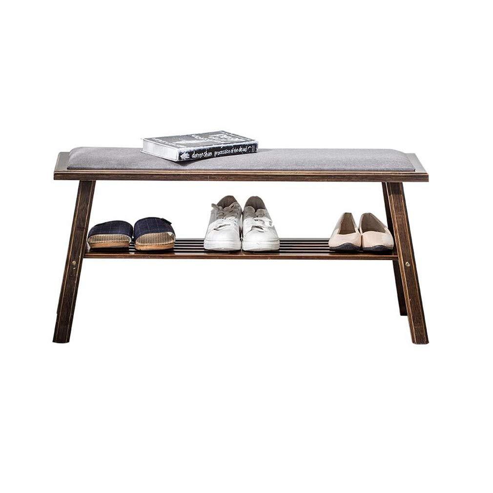 STAR-LIFE Solid Wood Storage Shoes Bench Nordic Home Entrance Shoe Cabinet, Comfortable Cotton Linen Soft Cushion (Color : Walnut Color, Size : 60cm)