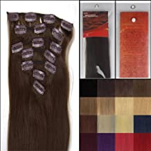 Silky 22 Inch 04 Medium Brown Remy Clip In Human Hair Extensions_7 Pieces Set_Clips Women Beauty Style _80g Weight