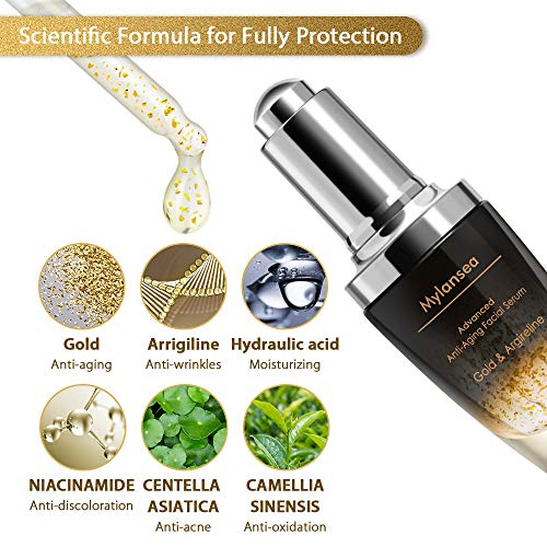 51uHwY7UK2L - Face Serum, Argireline Peptide and Gold Anti-Aging Serum for Face and Neck by Mylansea, Key Ingredients Include Hyaluronic Acid and Niacinamide, 30ml
