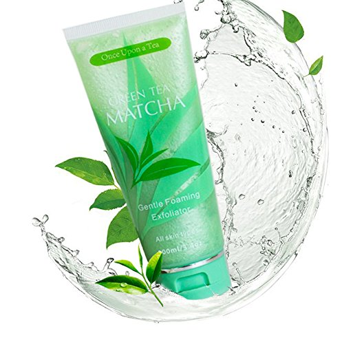 Green Tea Matcha Gentle Foaming Exfoliator, Best Exfoliating Face Wash For Men & Women, Deep Cleansing & Reduces Clogged Pores, Anti-Aging Facial Skin Care Cleanser, Microdermabrasion Scrub
