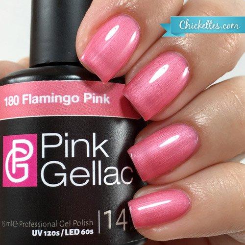 Pink Gellac #180 Flamingo Pink Soak-Off UV / LED Gel Polish (15ml / 0.5 fl oz) (Coral Flamingo)