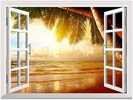 Removable Wall Sticker/Wall Mural - Sunrise on The Oceanside | Creative Window View Wall Decor - 24