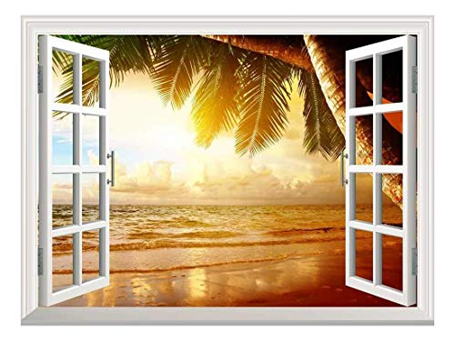 Removable Wall Sticker Wall Mural Sunrise on The Oceanside Creative Window View Wall Decor