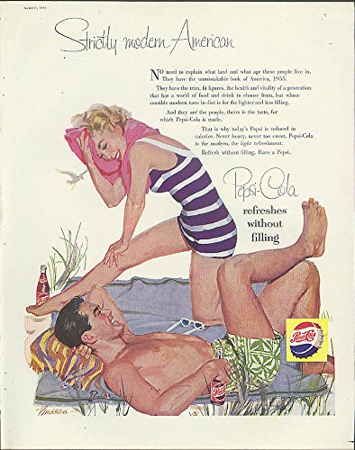 Strictly modern American Pepsi-Cola ad 1955 Buckham swimsuit gal & guy