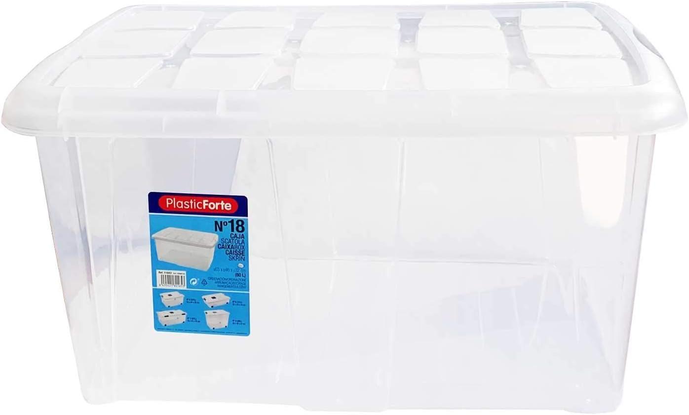PLASTIC FORTE, Caja de almacenamiento, Multicolor, 60 litros, sin ruedas: Amazon.es: Hogar