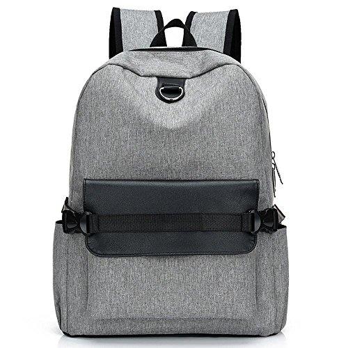 Aoligei Sac à dos USB chargeur loisirs plein air bagages toile épaule sac à dos en toile tendances hommes et femmes A